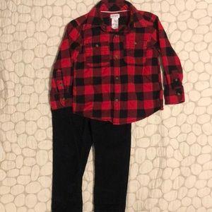 Carters boys holiday lumberjack dress up set